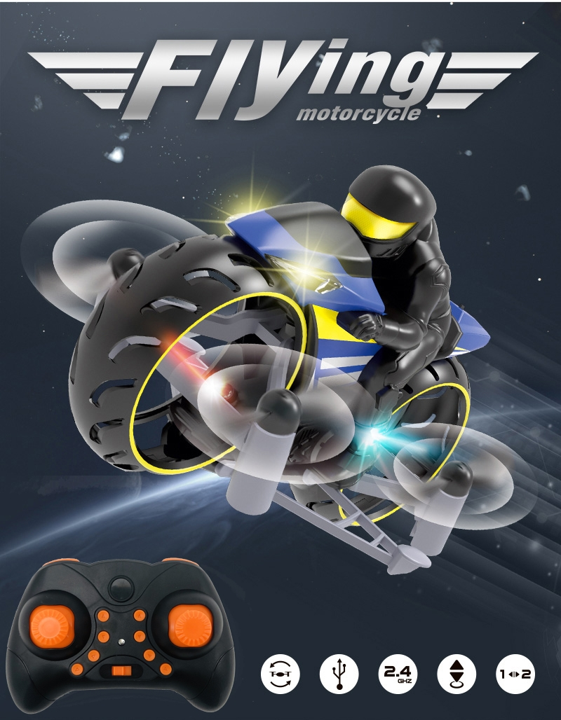 2.4G Remote Flying Motorcycle Mini Done With Led Light Dual Mode Headless Mode RC Quadcopter