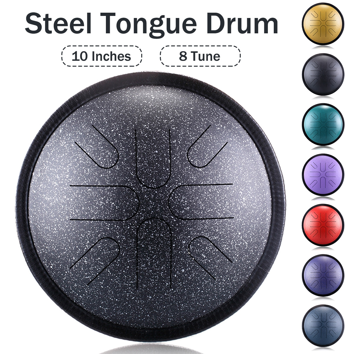 10'' 8 Notes Steel Tongue Drum Handpan Hand Tankdrum With Storage Bag Mallets