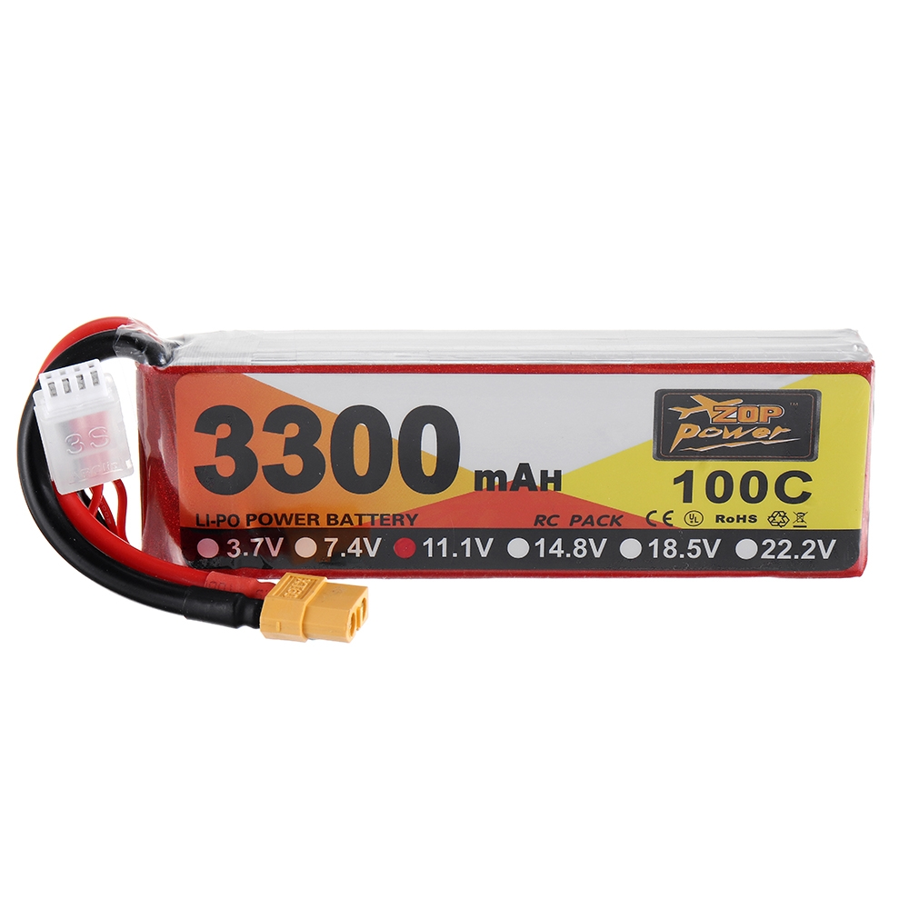 ZOP Power 11.1V 3300mAh 100C 3S Lipo Battery XT60 Plug for RC Racing Drone