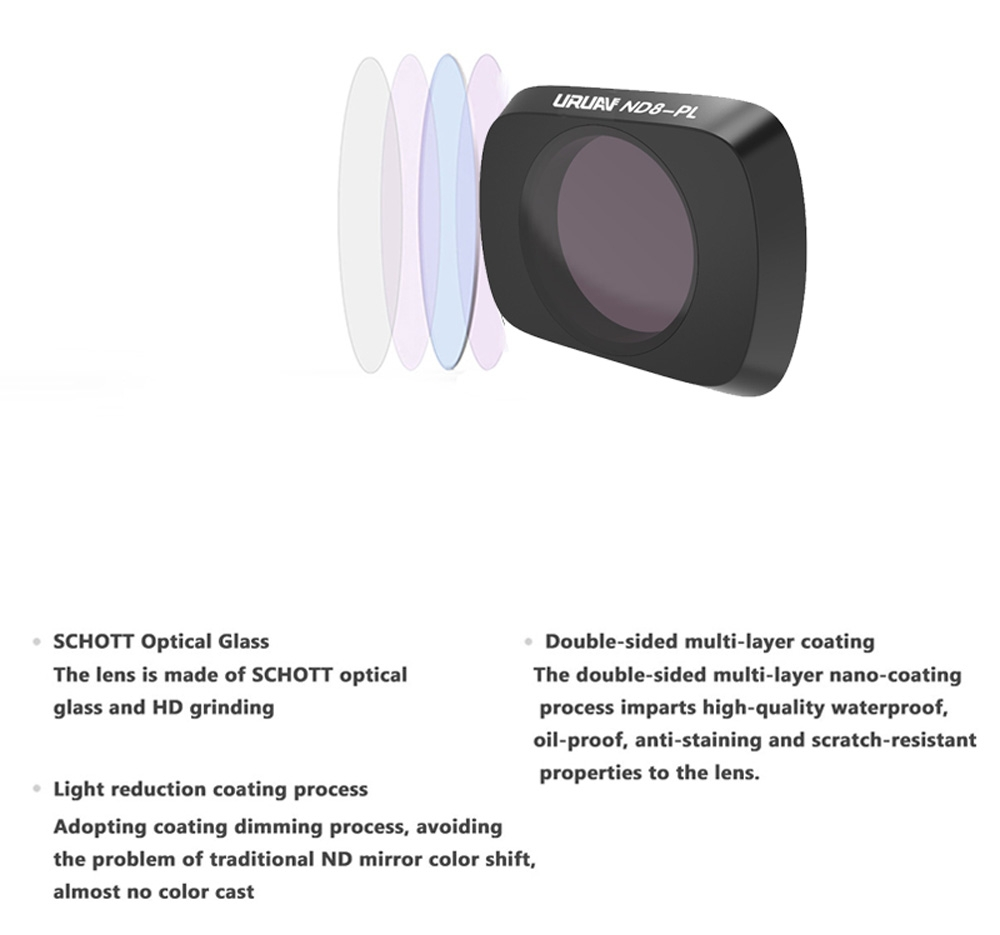 URUAV Camera Lens Filter Combo Set UV/CPL/ND4/ND8/ND16/ND32/STAR/NDPL/Night for DJI Mavic Air 2 RC Drone