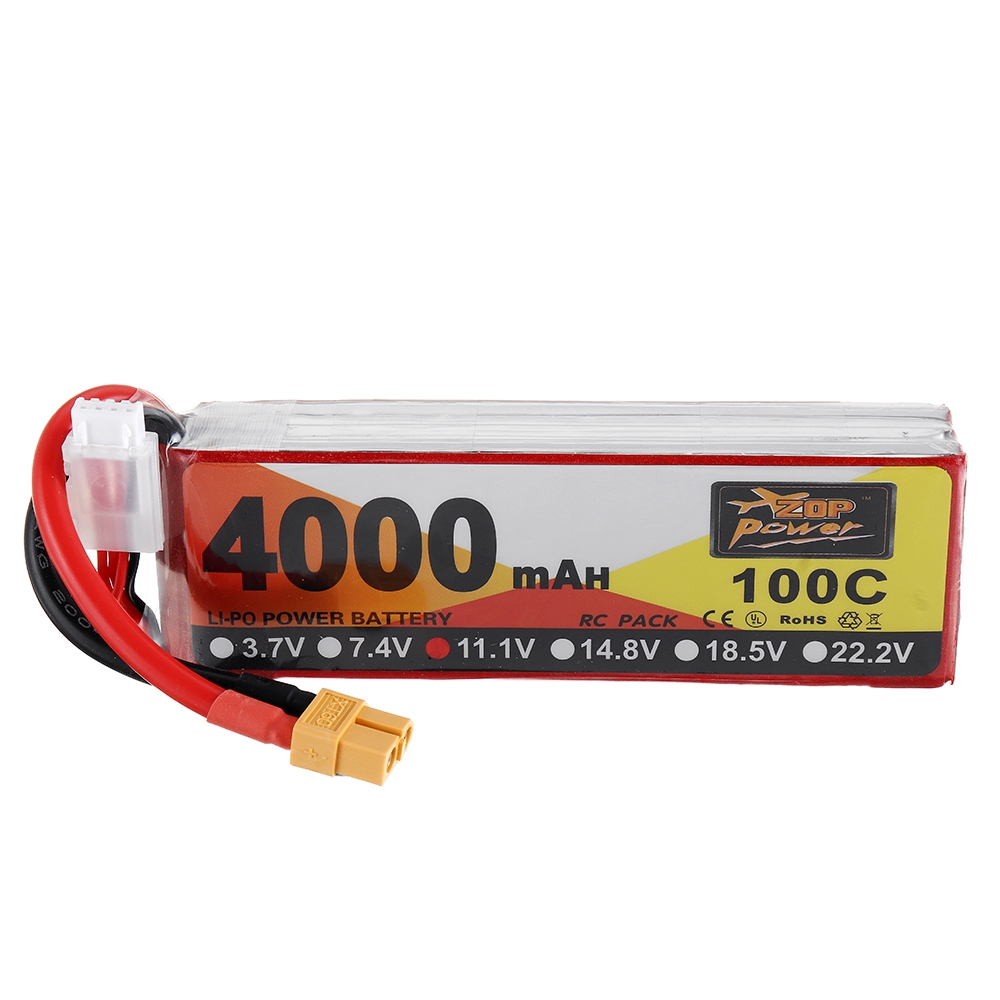 ZOP Power 11.1V 4000mAh 100C 3S Lipo Battery XT60 Plug for RC Racing Drone