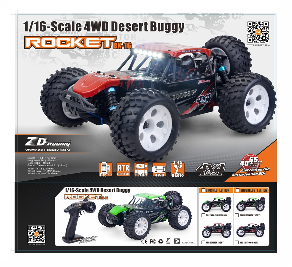 12% OFF FOR ZD Racing 1:16 Scale ROCKET DTK16 Brushless 4WD Desert Truck RC Car RC Vehicles RC Model 45KM/h
