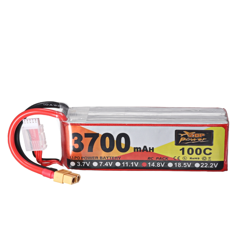 ZOP Power 14.8V 3700mAh 100C 4S Lipo Battery XT60 Plug for for FPV RC Drone