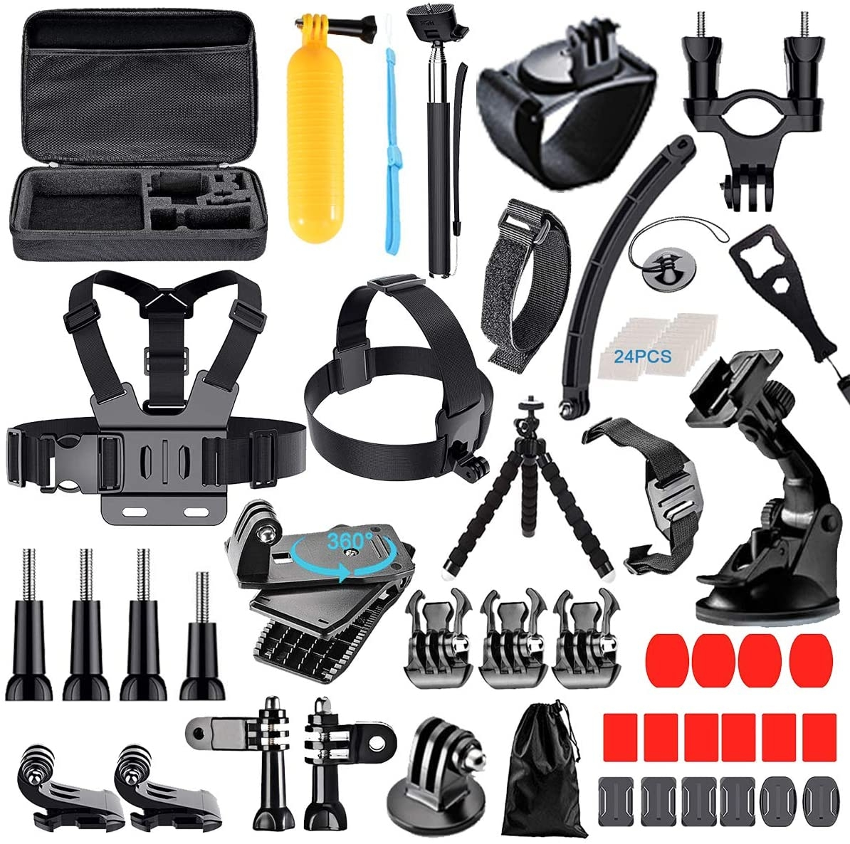 68-in-1 Camera Accessories Kit for GoPro 8/MAX/7 6 5 4 3+/Session 5/AKASO/APEMAN/DBPOWER/Campark/DJI OSMO/Lightdow/SJCAM Various Action Cameras