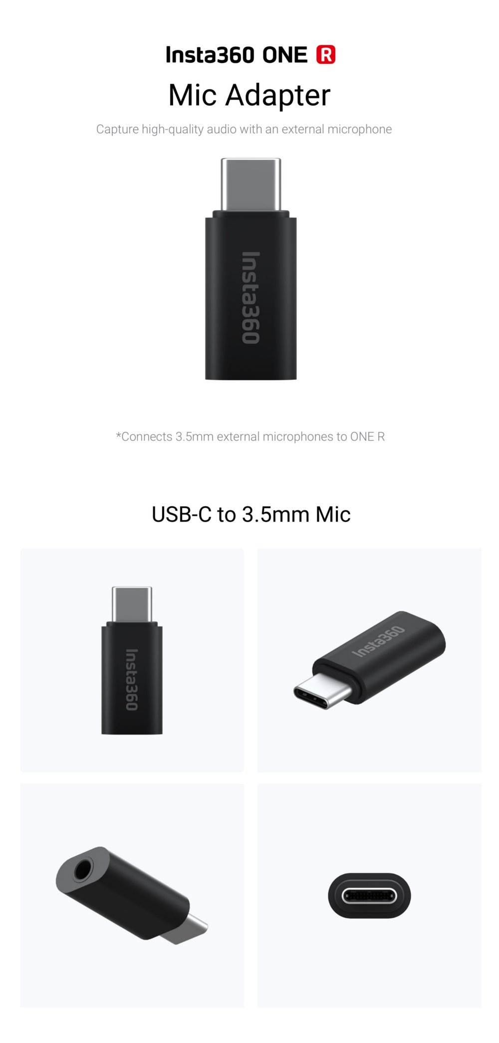 Insta360 USB-C to 3.5mm Mic Adapter For Insta360 ONE R Camera