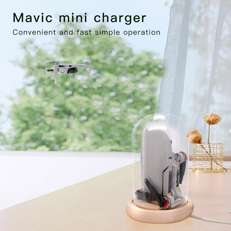 RCSTQ Charging Base Bell Jar Battery Charger Magnetic Attraction Solid Wood Glass Cover for DJI Mavic Mini RC Drone