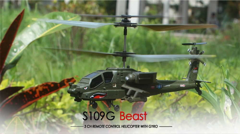 18% OFF for SYMA S109G 3.5CH Beast RC Helicopter RTF AH-64 Military Model Kids Toy