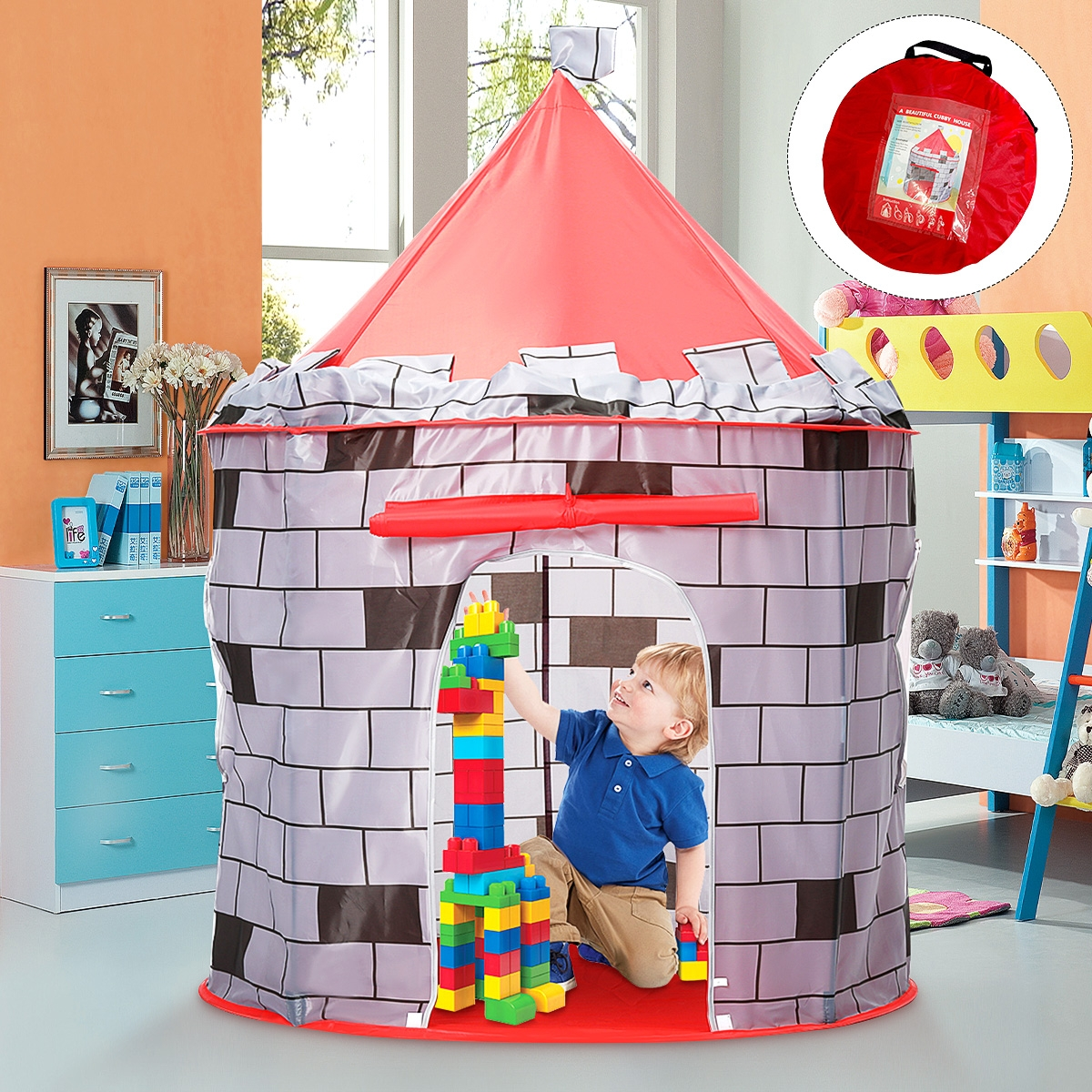 Knight Themed Folding Castle Pops Up Tent Play Toys for Kids Indoor Outdoor Playhouse Gift
