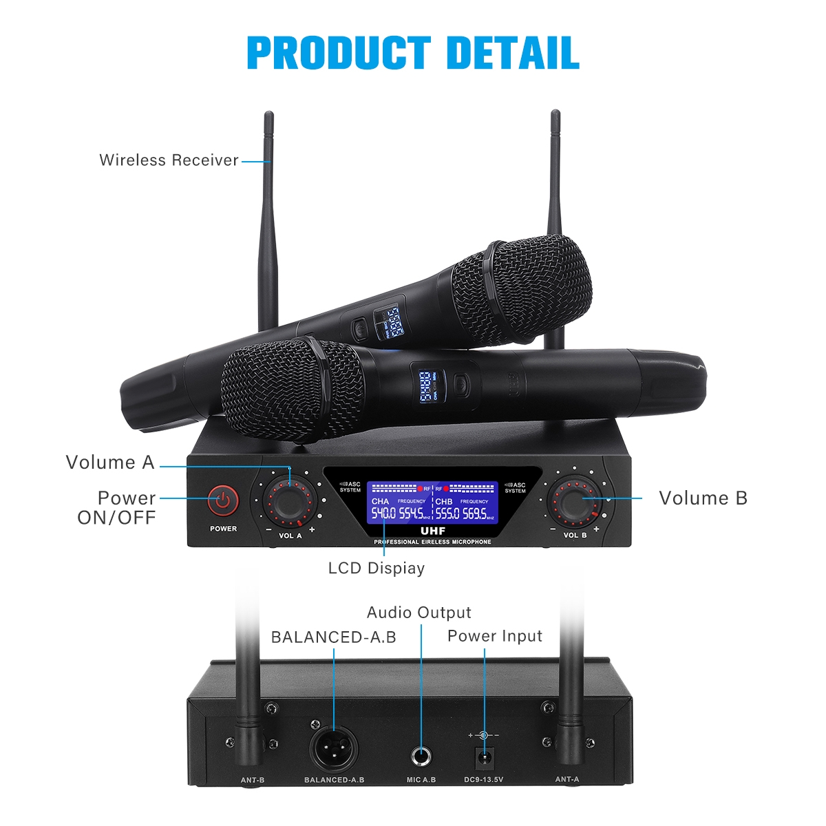 NASUM Wireless Microphone Karaoke Wireless Microphone System UHF Professional Handheld Wireless Mic Set