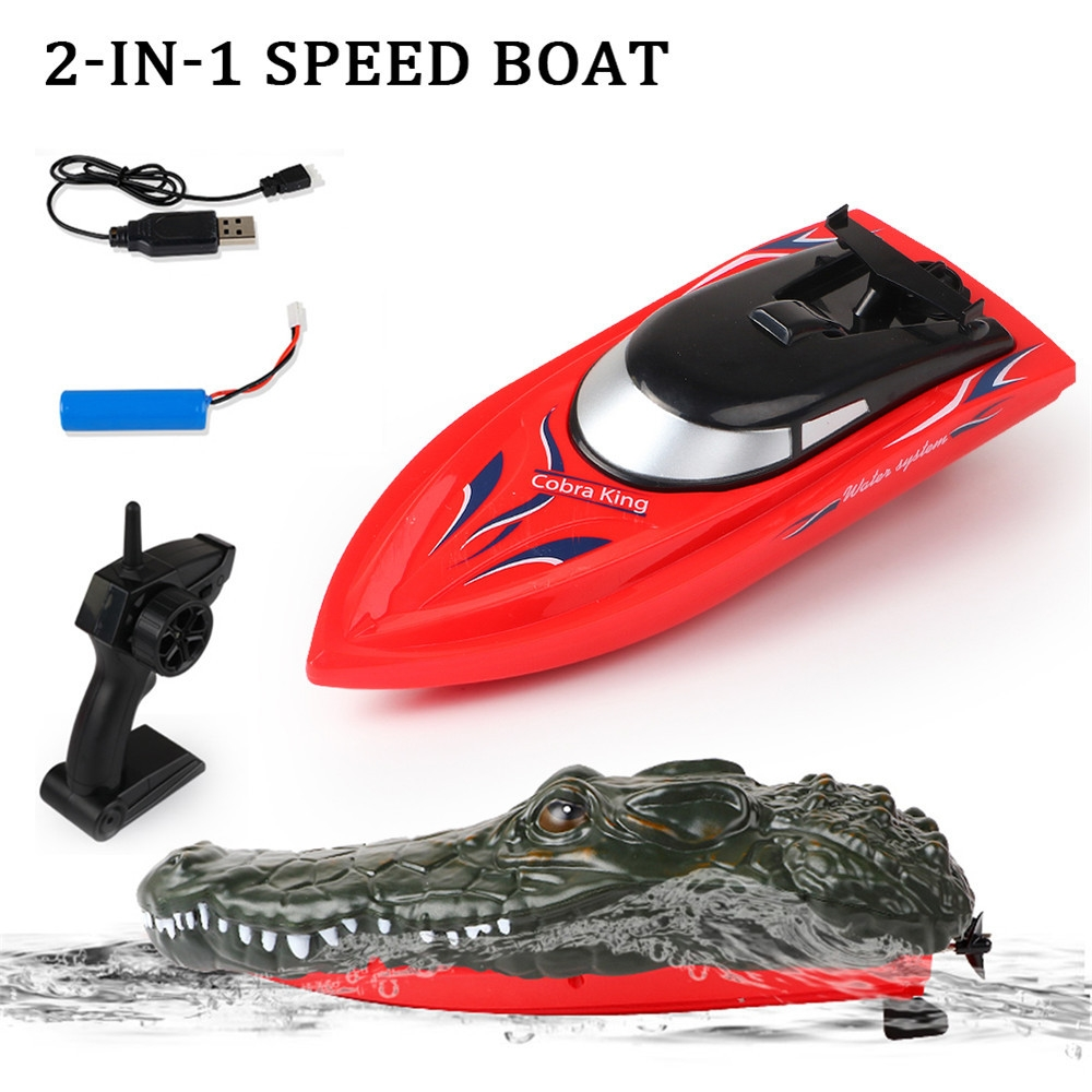 RH702 2.4G RC Boat 2 In 1 Simulation Crocodile Double Motors Vehicles RTR Model Toy