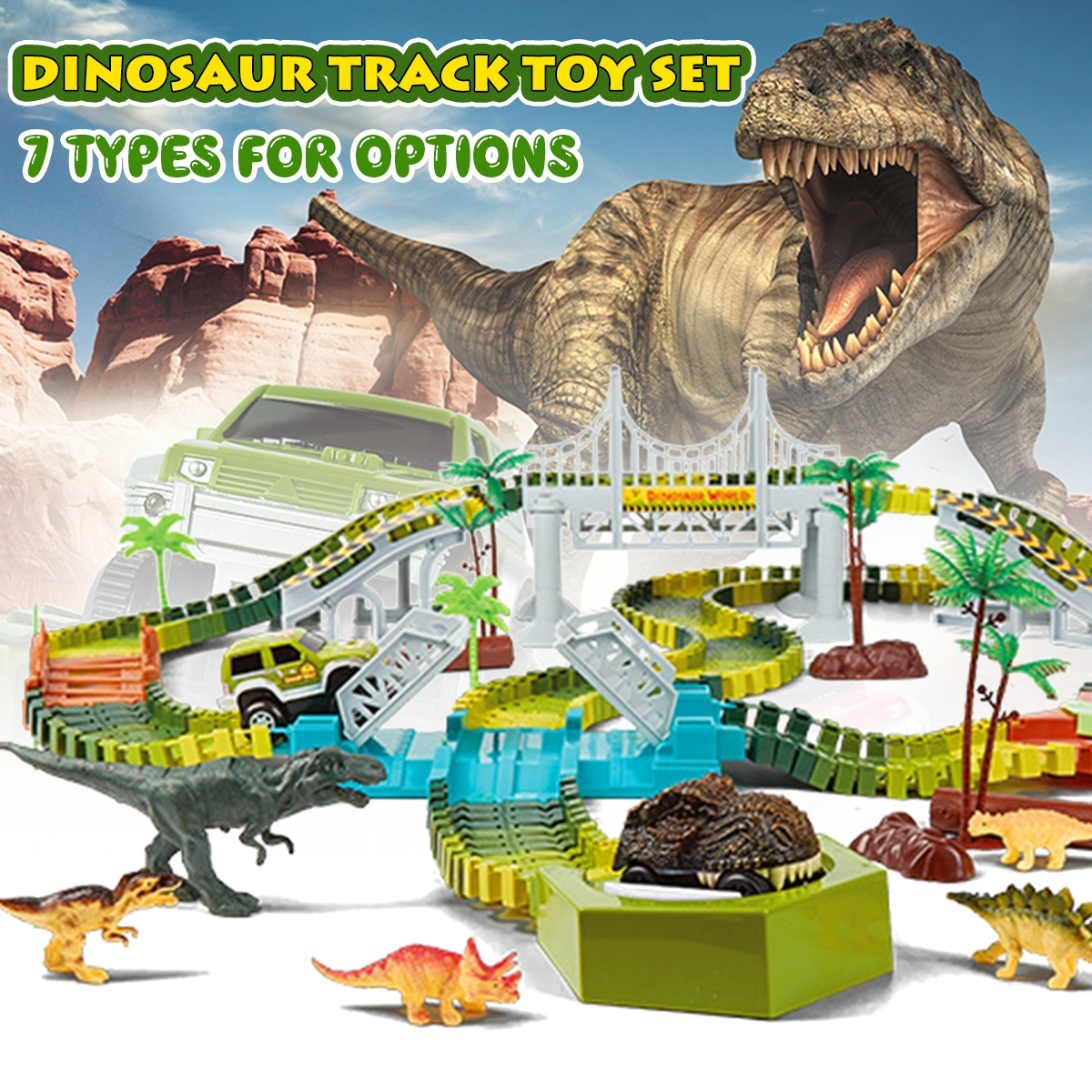 Dinosaur World Flexible Racing Car Track Toys Construction Play Game Educational Set Toy for Kids Gift