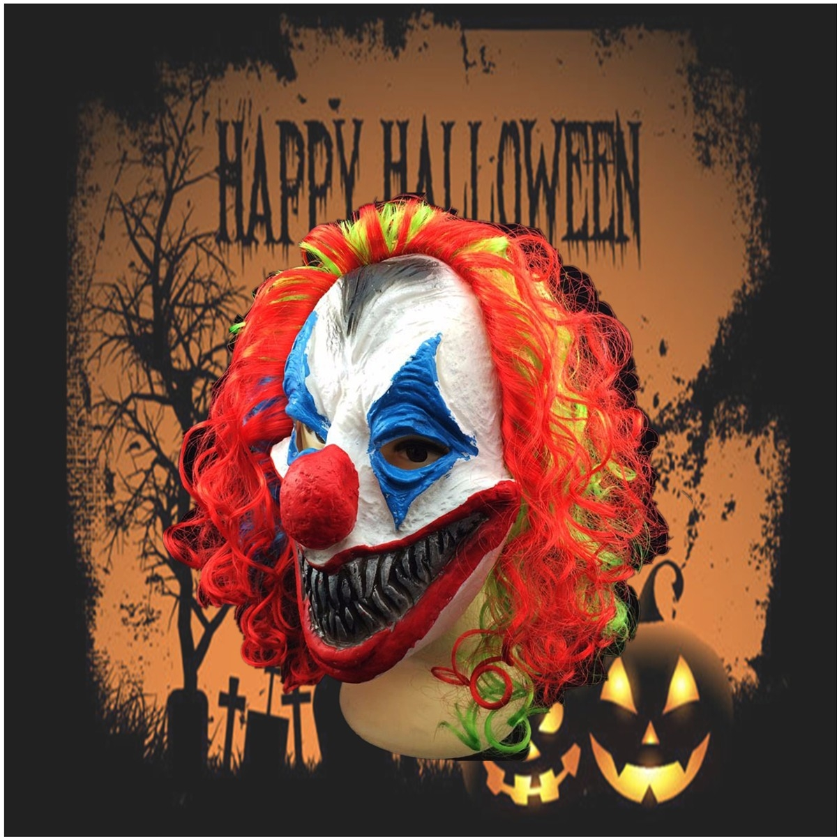New Halloween Mask Creepy Clown Head Adult Costume Party Fancy Prop Random Colo