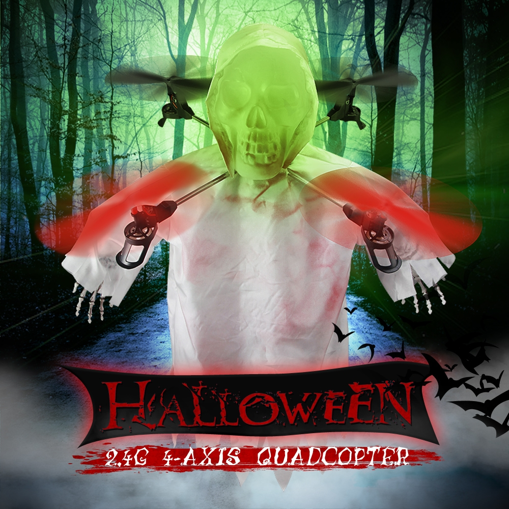 Realacc H400 Halloween Skull 2.4G 6 Axis Headless Mode LED Light RC Quadcopter RTF