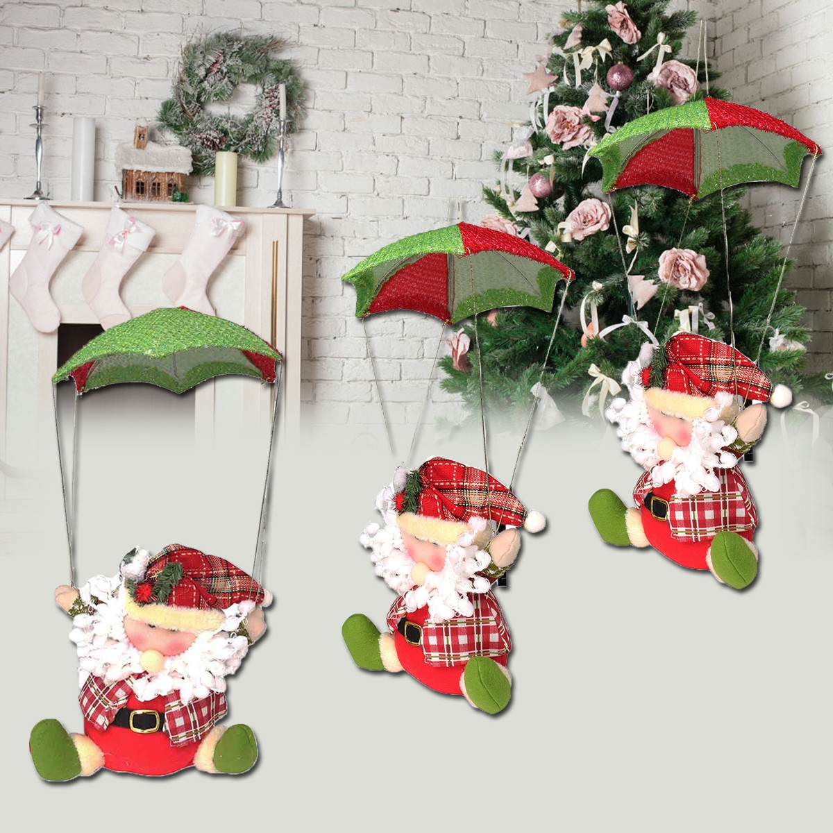 Santa Claus Snowman In Parachute Christmas Xmas Tree Hanging Home Decor Ornament