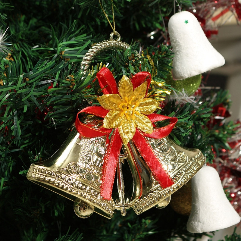 Christmas Bowknot Double Bell Xmas Tree Ornament Pendant Door Hanging Decoration