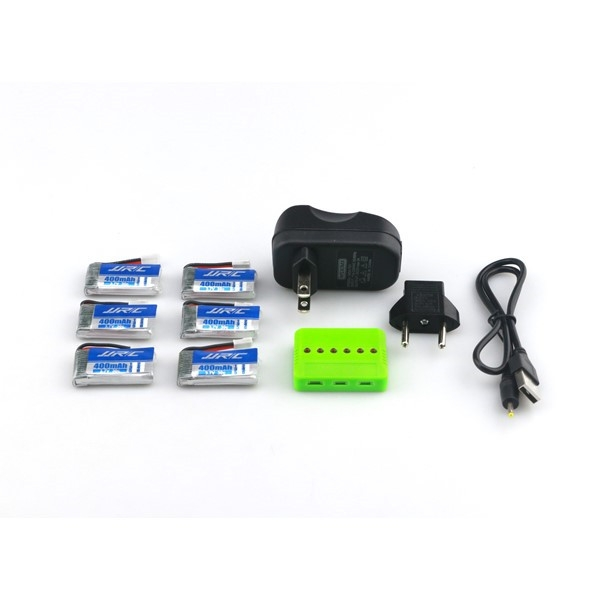 JJRC H31 RC Quadcopter Spare Parts 6Pcs 3.7V 400MAH 30C Battery and Charger Set X6A-A13