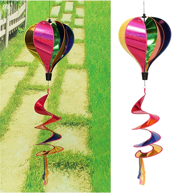 Rainbow Windsock Striped Hot Air Balloon Wind Spinner Twist Lawn Garden Camp Outdoor Decor