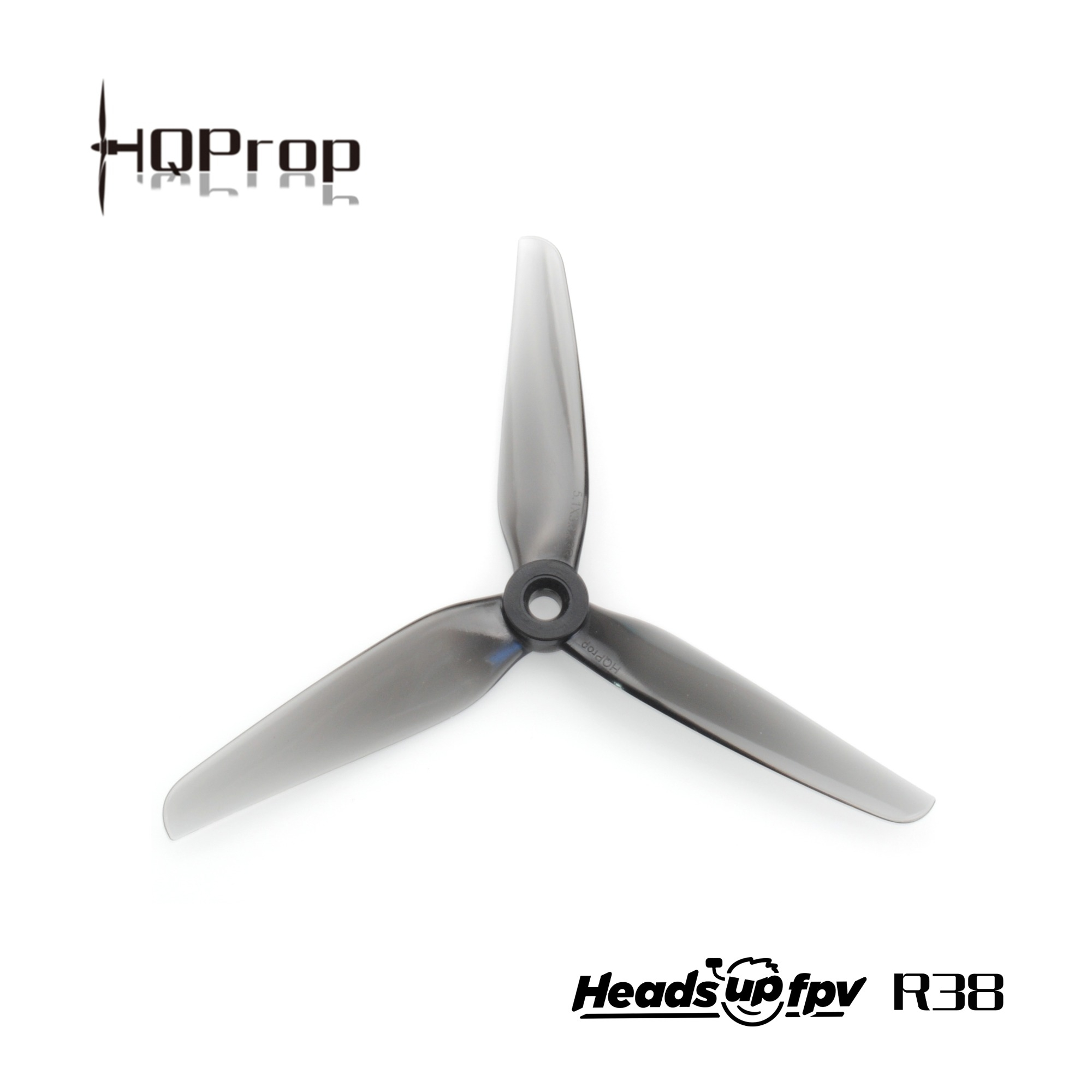 2Pairs HQProp HeadsUp Racing Prop R38 5.1Inch Grey PC 3 Blade Propeller 2CW+2CCW for FPV Racing RC Drone