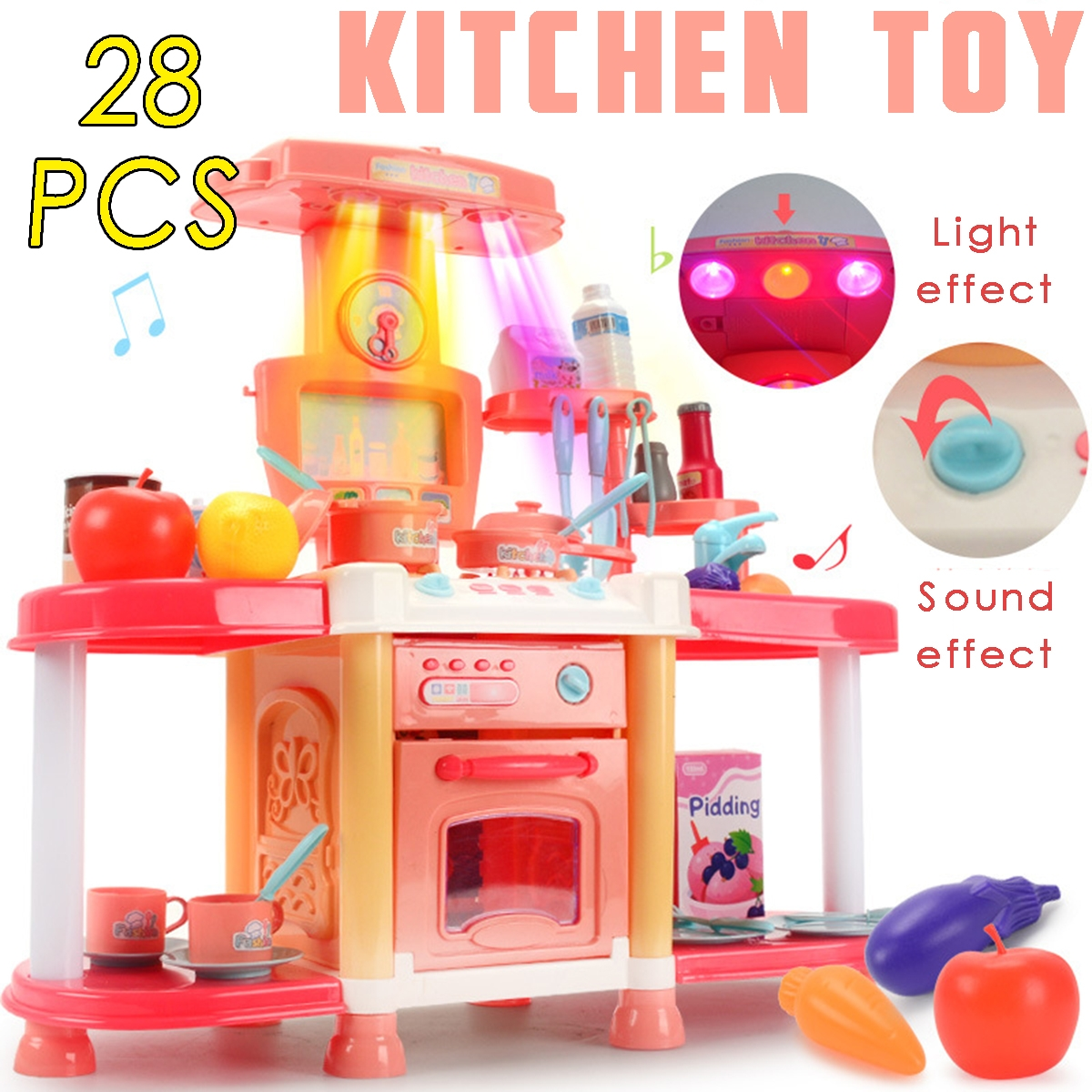 Children's Playhouse Kitchen Toy Set Sound And Light Sound Effects Girls Cook And Cook Utensils
