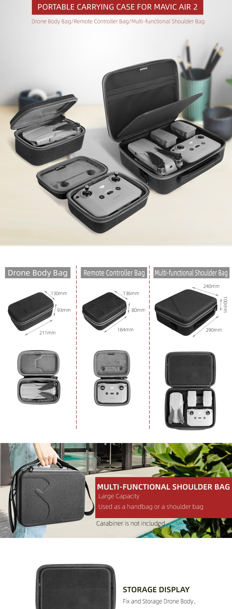 Sunnylife Portable Waterproof Storage Shoulder Bag Carrying Case Box Suitcase for DJI Mavic Air 2 RC Drone