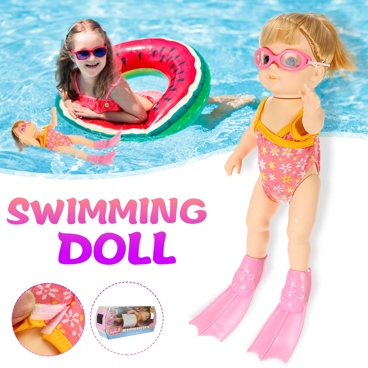 Children's Beach Swimming Pool Water Swimming Swimmer Summer Waterproof Electric Doll Water Toy