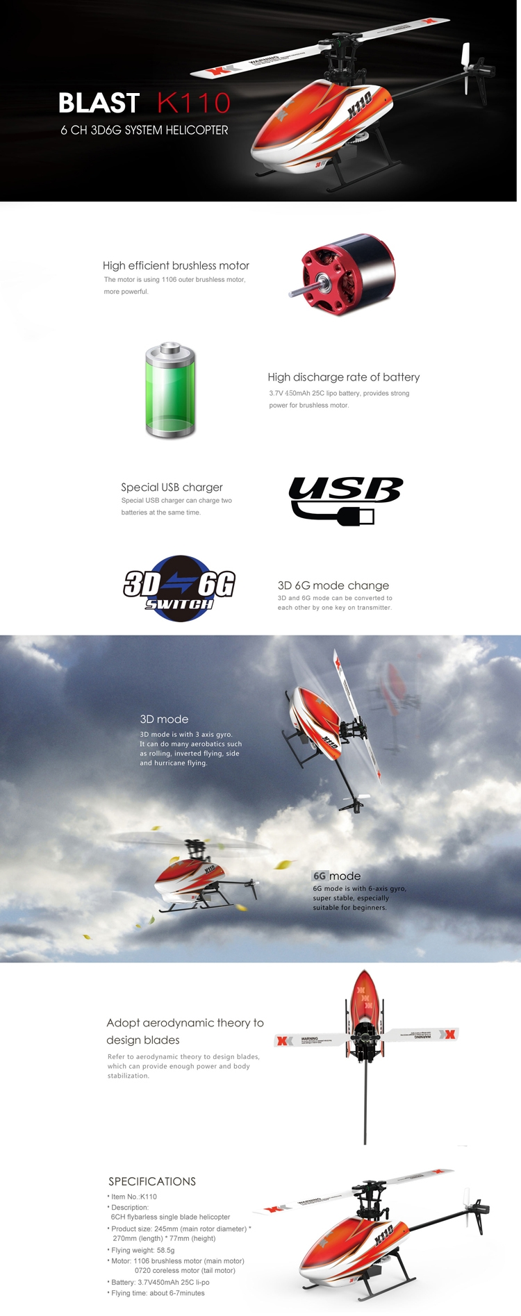 15% OFF for XK K110 Blast 6CH Brushless 3D6G System RC Helicopter BNF
