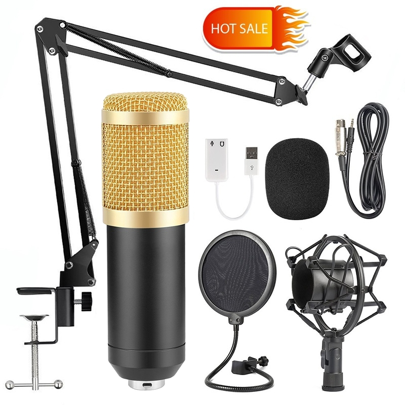 BM800 Pro Condenser Microphone Kit Studio Suspension Boom Scissor Arm Stand with Fliter