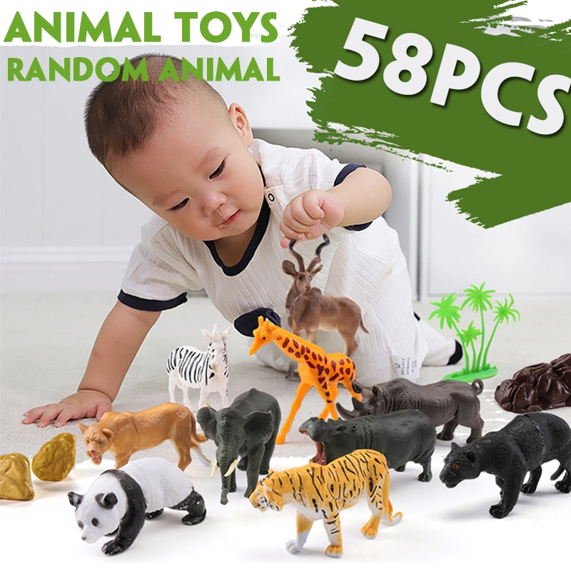 58 Pcs Multi-style Animal Plastic Action Figures Set Decoration Toy with Box for Kids Gift