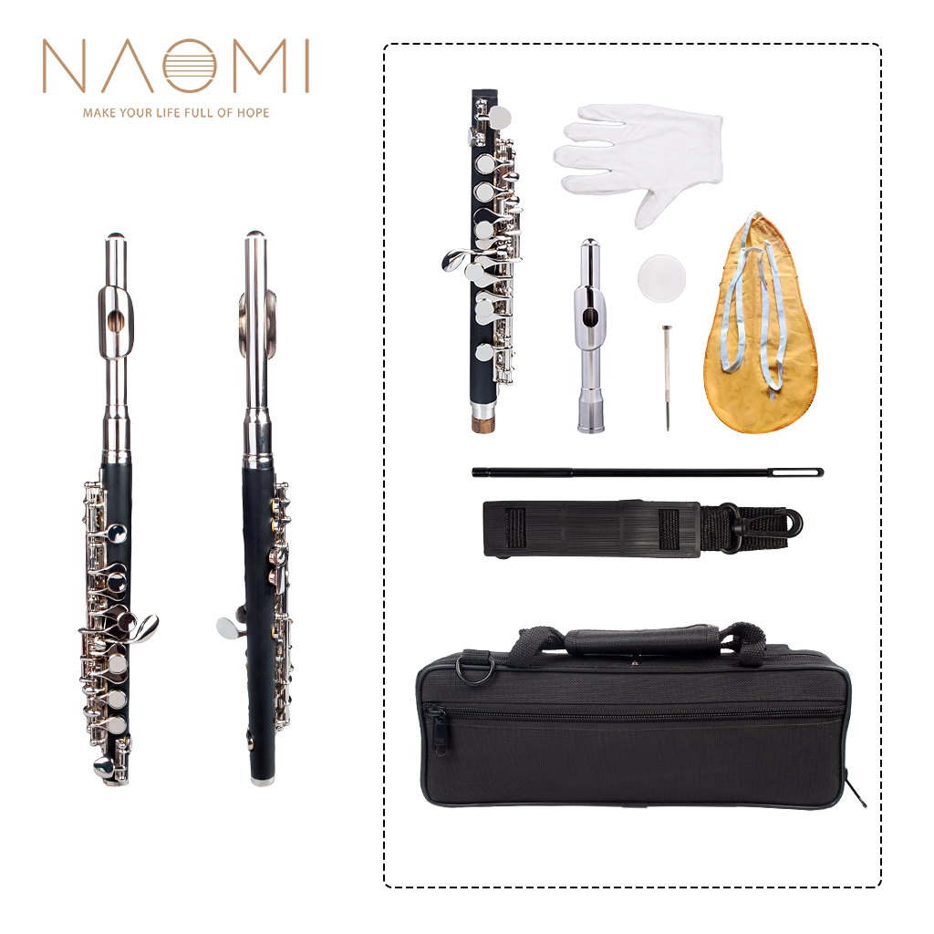 NAOMI Professional Nickel Plated Piccolo Excellent Ebonite Rubber Wood Piccolo Key of C Piccolo Set