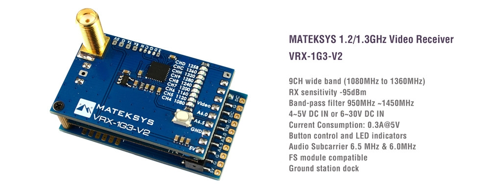 MATEKSYS Matek System VRX-1G3-V2 1.2/1.3GHz 9CH Wid Band FPV Receiver Video Receiver RC FPV Drone Long Range