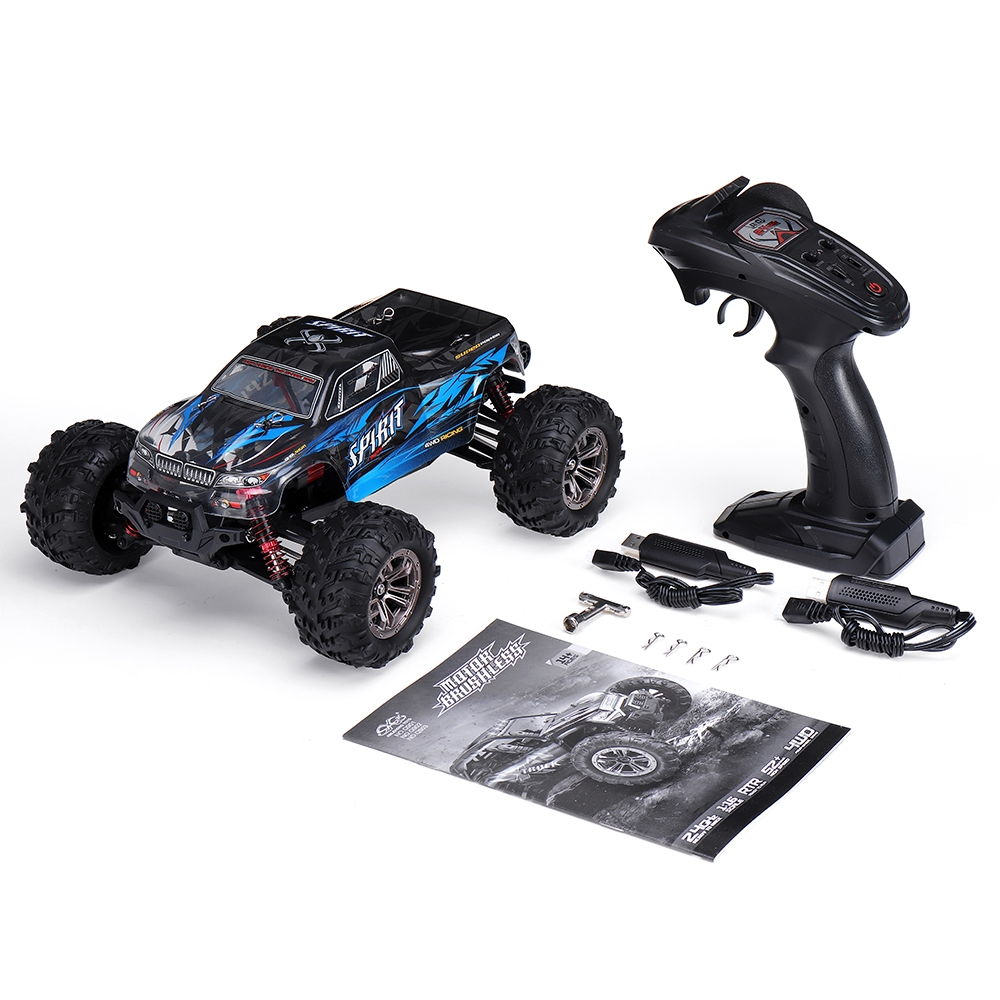 12% OFF for Xinlehong Q901 with Two Battery 1/16 2.4G 4WD 52km/h Brushless Proportional Control RC Car LED Light RTR Toys