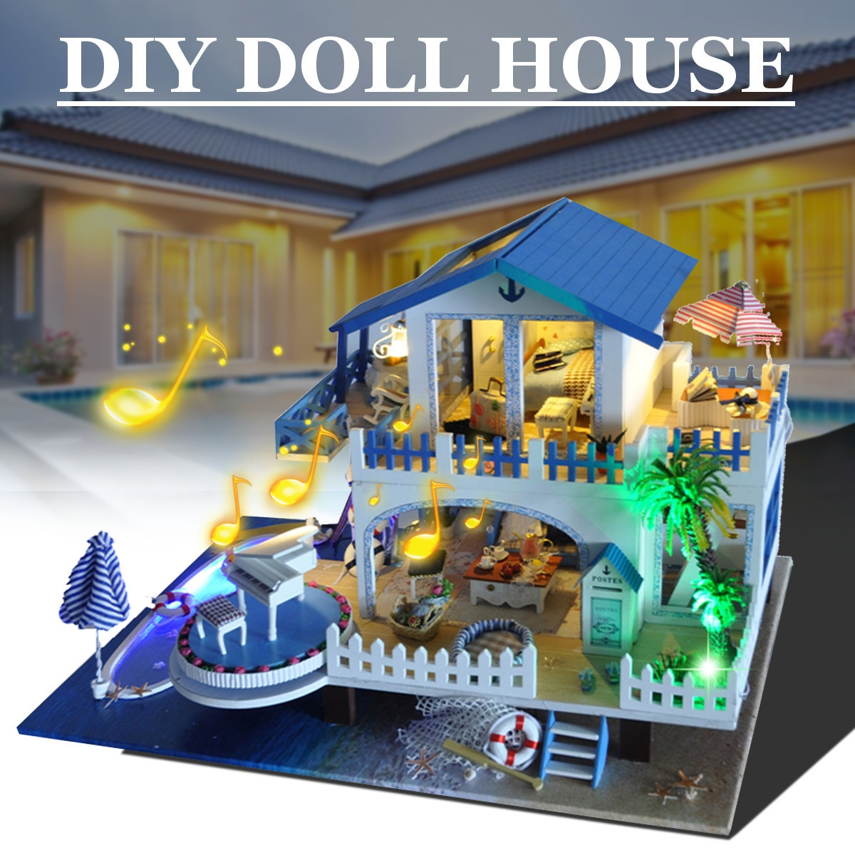 DIY Handcraft 3D Wooden Toy Miniature Kit Dollhouse LED Lights Music House Gift