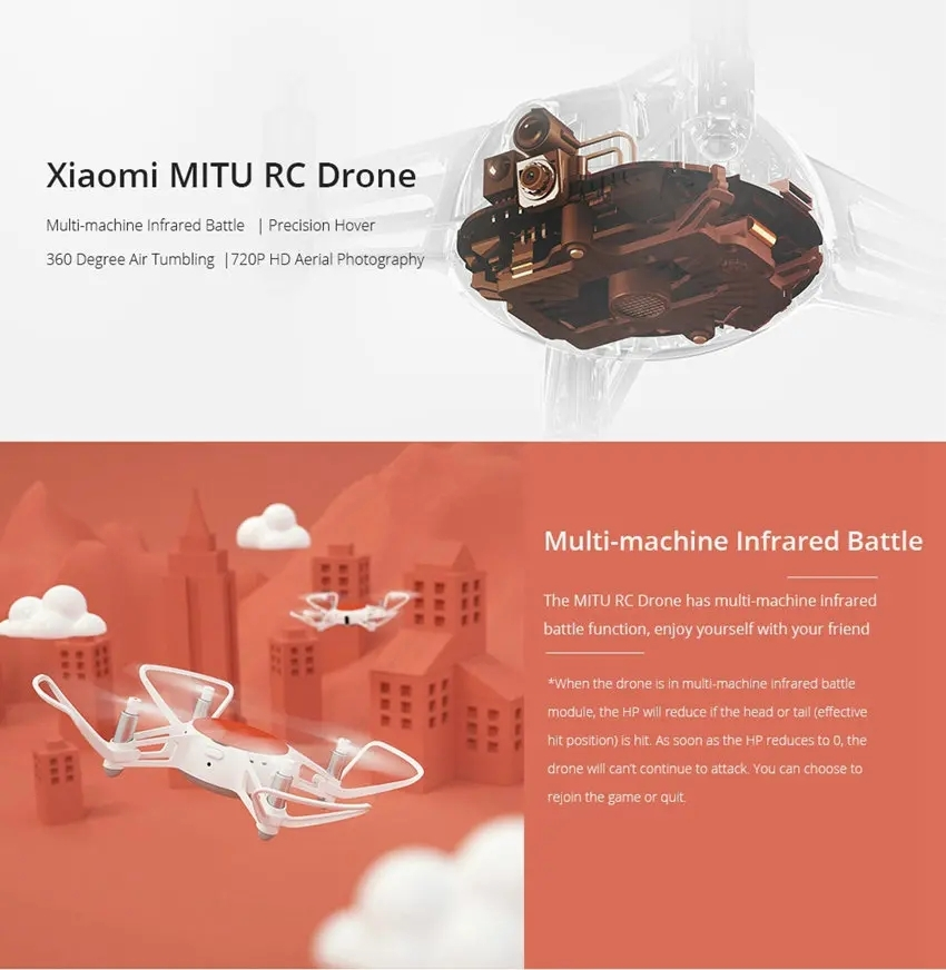 Xiaomi FIMI MiTu WiFi FPV With 720P HD Camera Multi-Machine Infrared Battle Mini RC Drone Quadcopter BNF+One Set Propellers