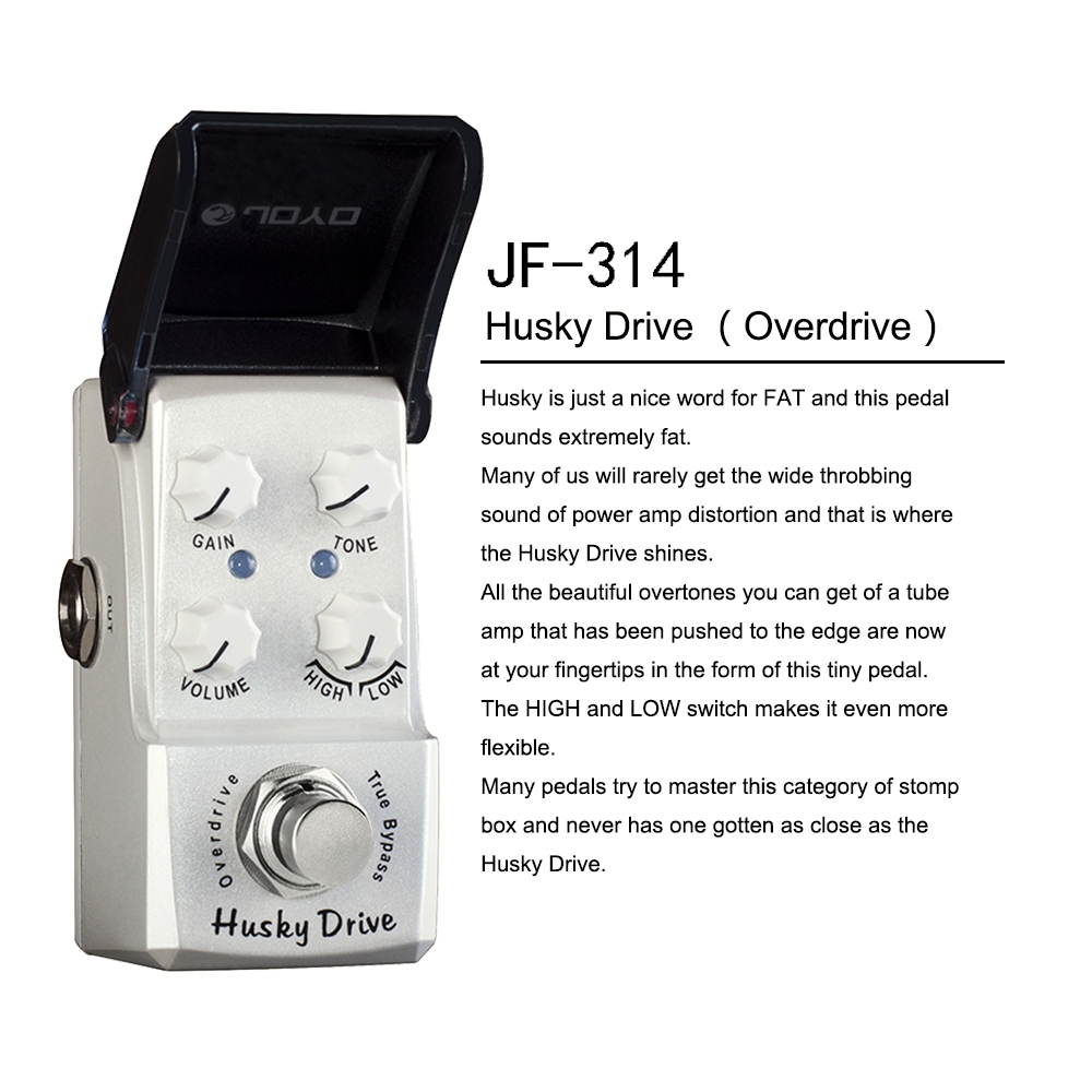 JOYO JF-314 Husky Drive Overdrive Guitar Effect Pedal Suit for Blues Solo High-Power Drive Booster True Bypass HIGH LOW Switch