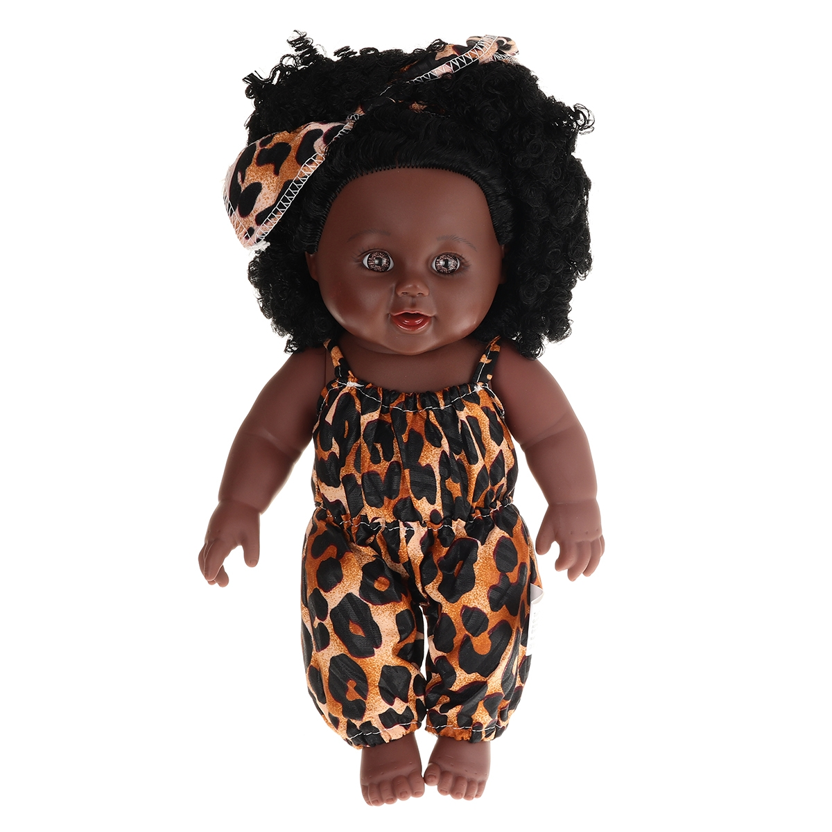 12Inch Simulation Soft Silicone Vinyl PVC Black Baby Fashion Doll Rotate 360° African Girl Perfect Reborn Doll Toy for Birthday Gift