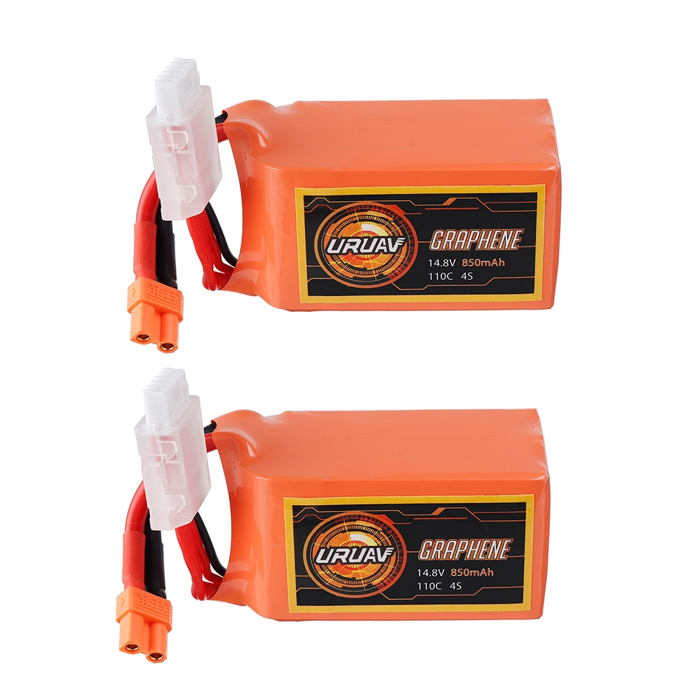 2Pcs URUAV GRAPHENE 4S 14.8V 850mAh 110C Lipo Battery XT30 Plug for FPV RC Racing Drone
