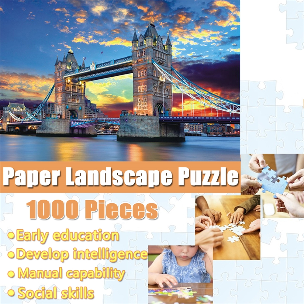 1000 Pieces of Jigsaw Puzzles London Bridge Paper Landscape Pattern Interesting Educational Toys For Kids