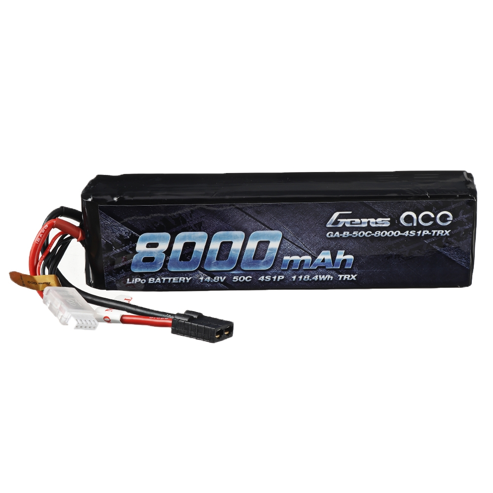 Gens ace 14.8V 8000mAh 50C 4S Lipo Battery TRX Plug for RC Car