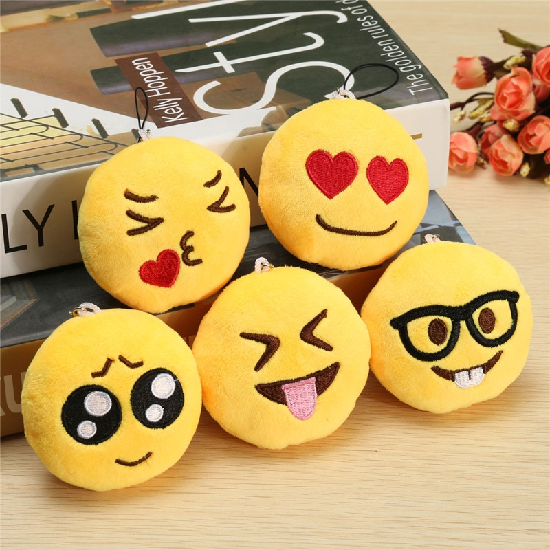 3inch 8cm Smiley Emoticon Round Emoji Ornament Stuffed Plush Soft Pendant