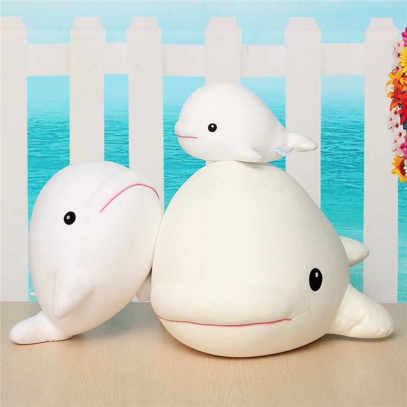 1PCS Cute Beluga White Whale Soft Animal Doll Ornament Stuffed Plush Toy Decor