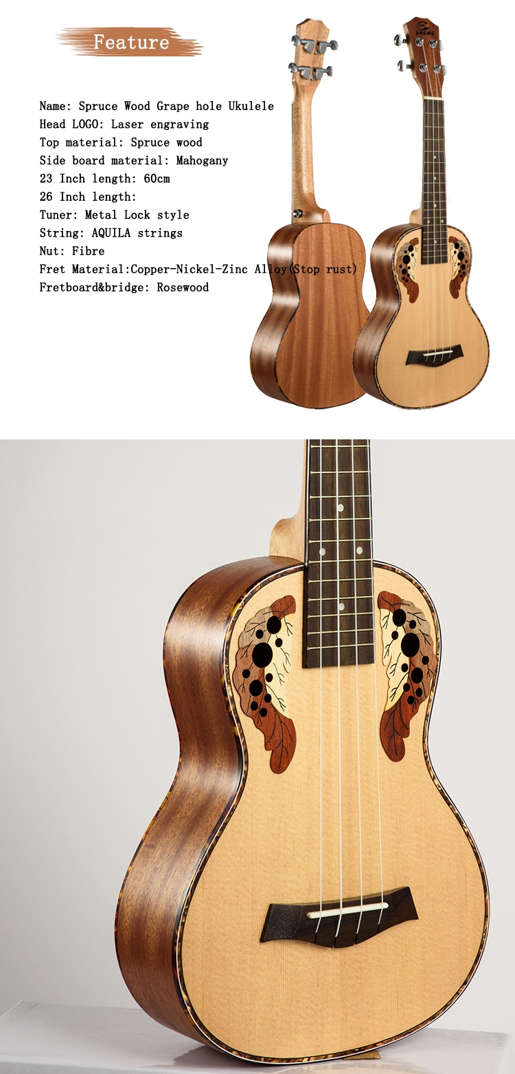 Chensheng 23 Inch 26 Inch Spruce wood Grape Hole Ukulele 4 Strings Guitar