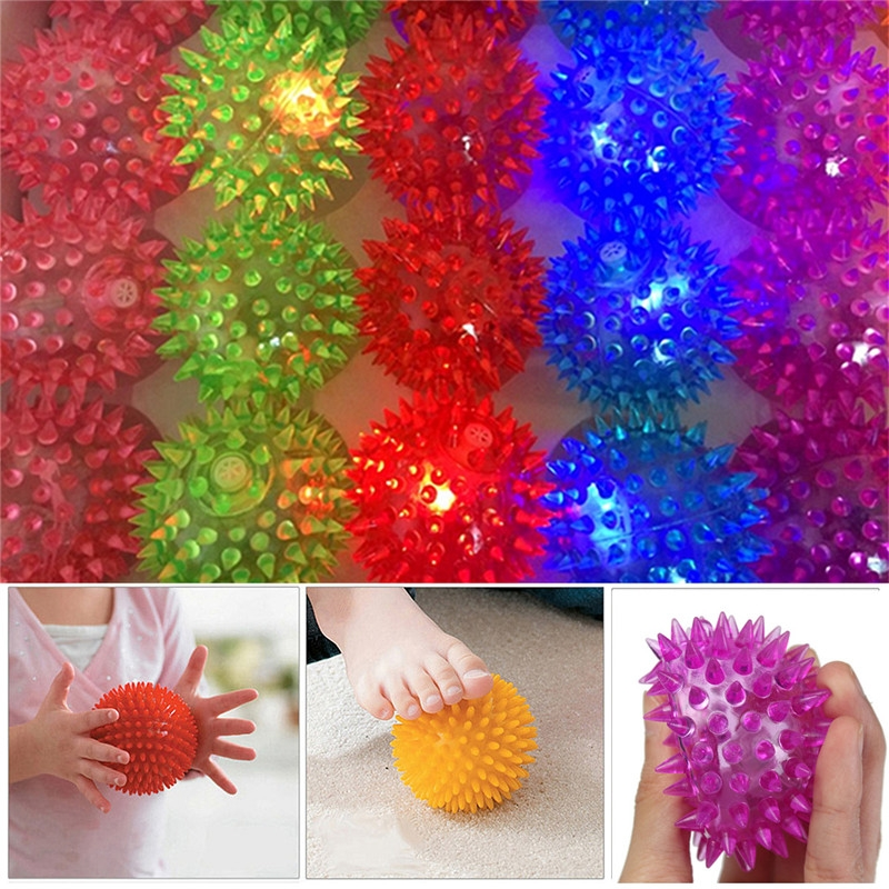 5PCS 6cm Stress Reliever Ball Flashing Light Spiky Massage Ball Stress Eases Tension Therapy