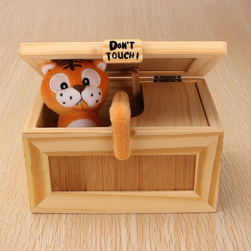 Pre-assembled Useless Box Cute Tiger Gimmicky Fun Geek Gadget Toy Gift Home Office Desk Decor