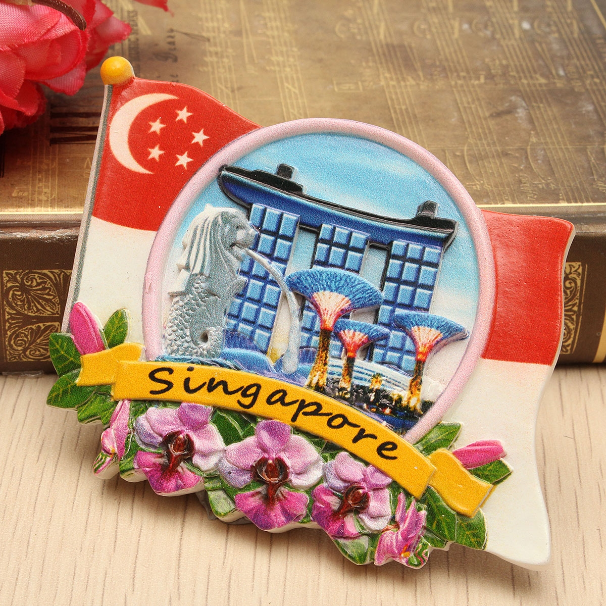 Tourist Souvenir Favorite Travel Resin 3D Fridge Magnet Colorful-Singapore