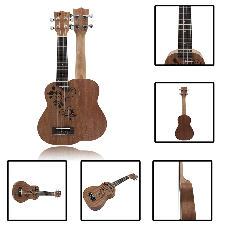 IRIN 21 Inch Hollow Carved Sapele Ukulele Hawaii Handcraft Ukulele