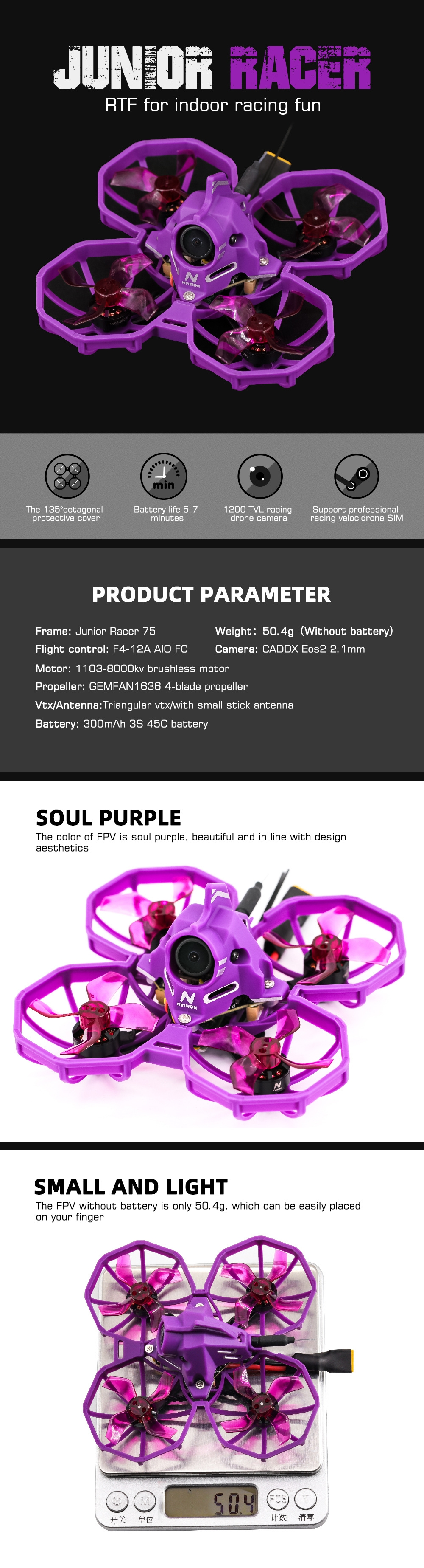 25% OFF for NVision Junior Racer75 75mm F4 AIO 12A ESC 3S Whoop FPV Racing Drone PNP w/ 1103 8000KV Motor Caddx Turbo Caddx Eos2 1200TVL Camera