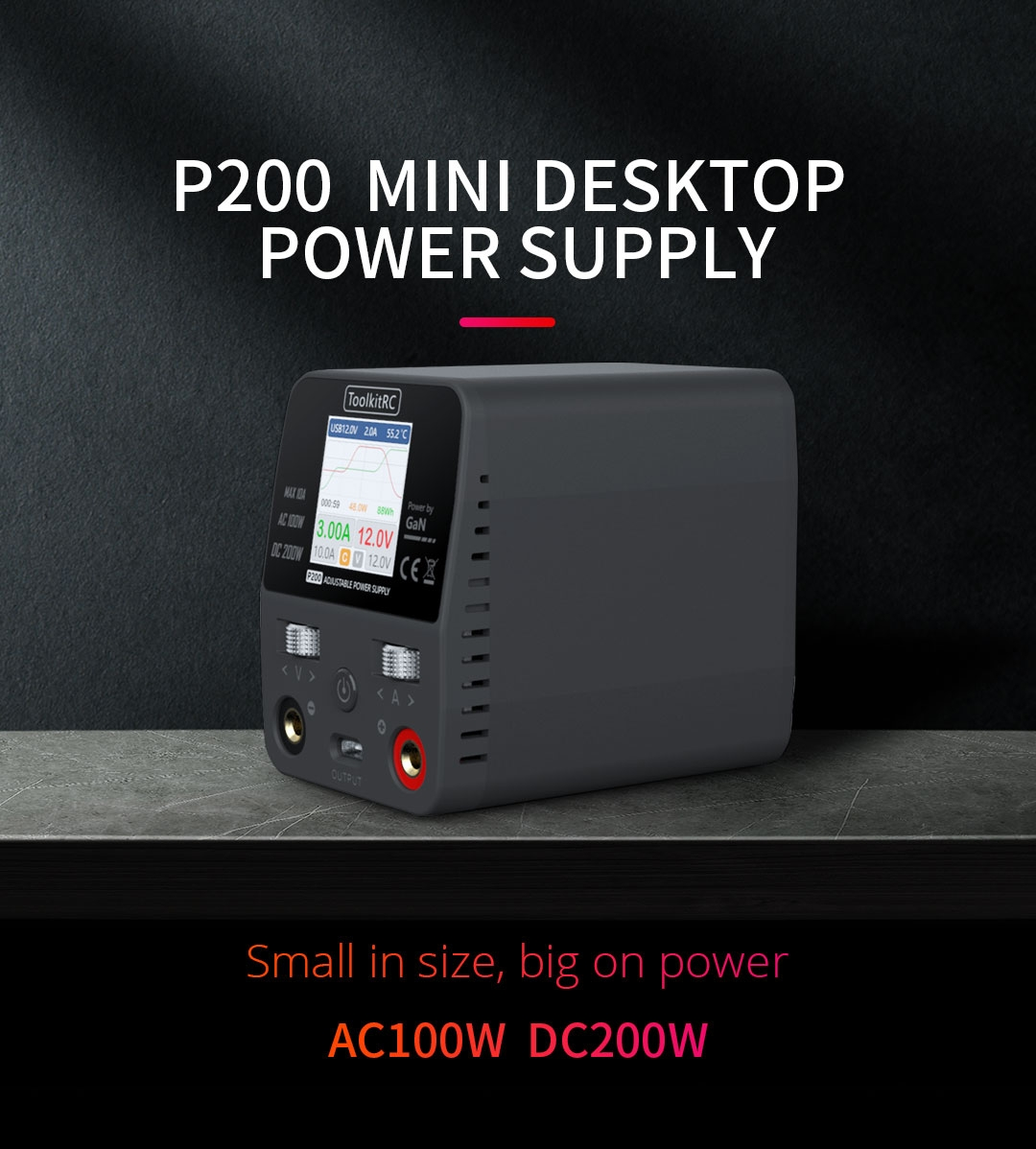 $92.99 ToolkitRC P200 Mini 30V AC100W DC200W 10A GaN Adjustable Mini Desktop Power Supply