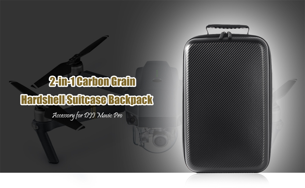 2-in-1 Carbon Grain Hardshell Suitcase Backpack