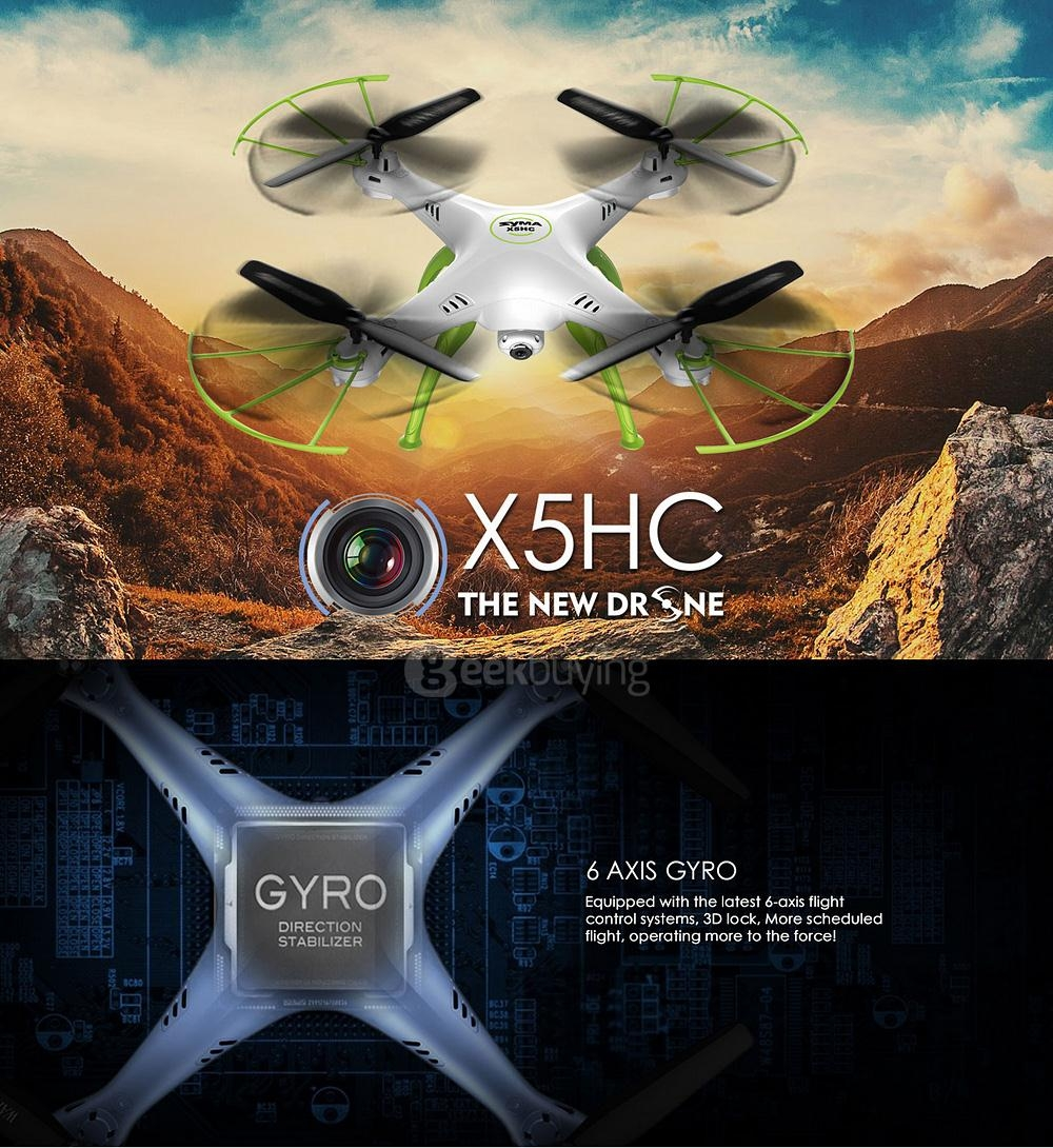 Syma X5HC With 2MP HD Camera 3D Roll Altitude Hold Headless Mode 2.4G 4CH 6Axis RC Quadcopter RTF - White