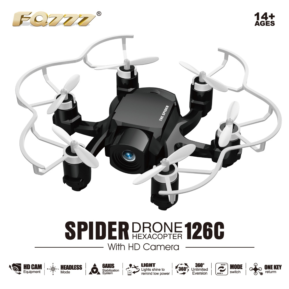 FQ777-126C MINI Spider Drone 2MP HD Camera 3D Roll One Key to Return Dual Mode 4CH 6Axis Gyro RC Hexacopter - White